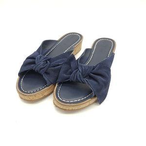 Bernardo Suede Bow Front Slip On Sandals